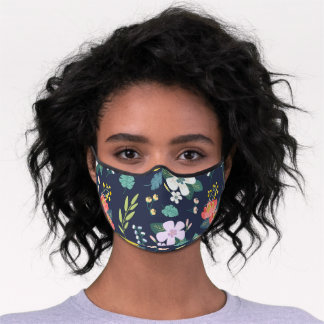 floral pattern blue premium face mask