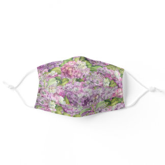 Floral Pink Lavender Hydrangea Pattern Adult Cloth Face Mask