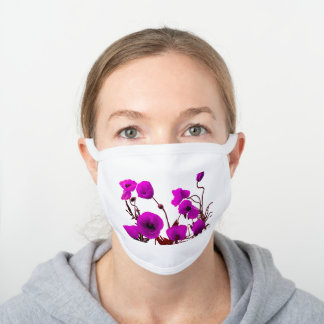 Floral Poppy Flowers Pink White Spring Garden Cool White Cotton Face Mask