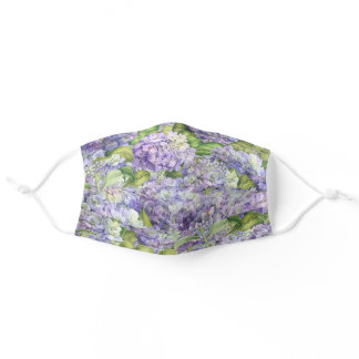 Floral Purple Lavender Hydrangea Pattern Adult Cloth Face Mask