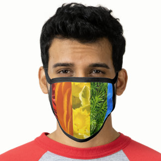 Floral Rainbow Flag Colors Gay Design GLBTQ Face Mask