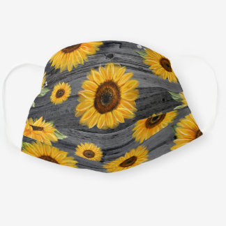 Floral Watercolor Gray Yellow Sunflower Cloth Face Cloth Face Mask
