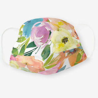 Floral Watercolor Painting Blush Pink Flowers Art Cloth Face Mask