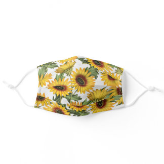 Floral Yellow Sunflower pattern - flowery flowers Adult Cloth Face Mask