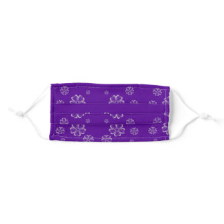 flower bubbles on purple adult cloth face mask