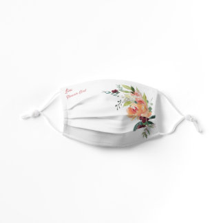 Flower Girl Pink Watercolor Roses Wedding Child Kids' Cloth Face Mask