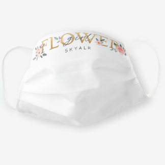 Flower Girl Wedding Watercolor Floral Rose White Cloth Face Mask