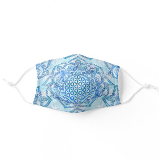 Flower of Life in Lotus - Gentle Sky Blue Adult Cloth Face Mask