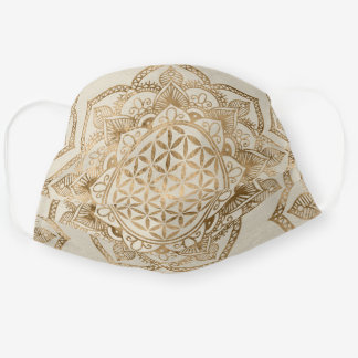 Flower of Life in Lotus - pastel golds and canvas Cloth Face Mask