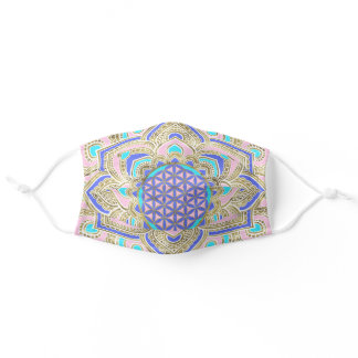 Flower of Life in Lotus Pastels and Gold Adult Cloth Face Mask
