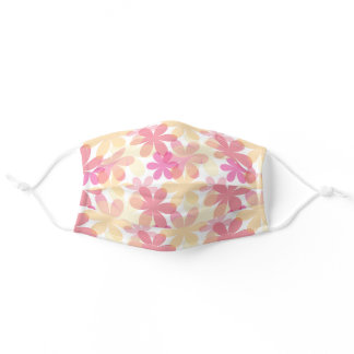 Flower Pink Yellow White Pattern Adult Cloth Face Mask