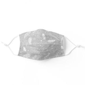 flowers & feathers pattern monogrammed light gray adult cloth face mask