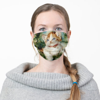 Fluffy christmas cat Watercolor Adult Cloth Face Mask