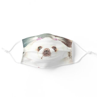 Fluffy white puppy face mask for virus protection.