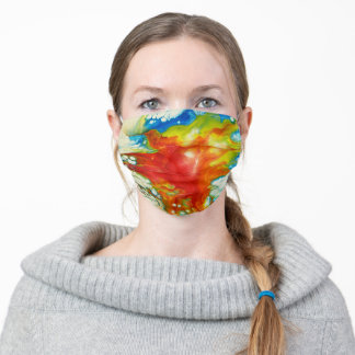 Flying over Hekla - pouring paint. Adult Cloth Face Mask