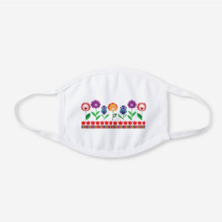 Folk garden white cotton face mask