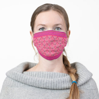 Folklore Floral Arches with borders - hot pink Adult Cloth Face Mask