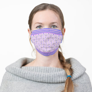Folklore Floral Arches with borders lavender blue Adult Cloth Face Mask