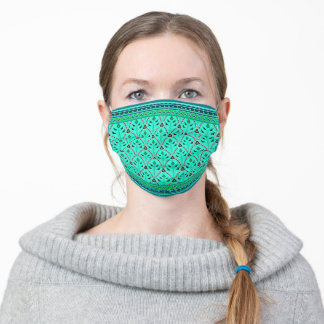 Folklore Floral Arches with borders mint turquoise Adult Cloth Face Mask