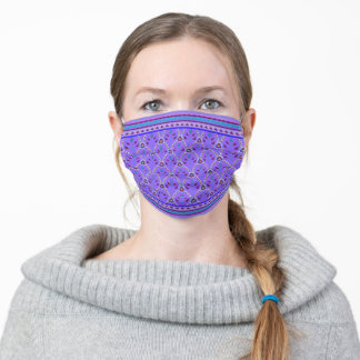 Folklore Floral Arches with borders purple Adult Cloth Face Mask