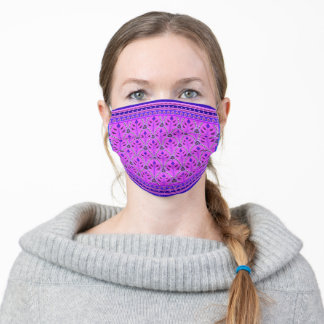 Folklore Floral Arches with borders violet cobalt Adult Cloth Face Mask
