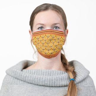 Folklore Floral Arches with borders yellow red Adult Cloth Face Mask