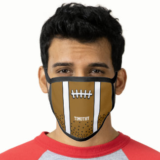Football Drawing with Name - Black and Brown Face Mask