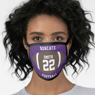 Football Game Day School Spirit Purple Face Mask