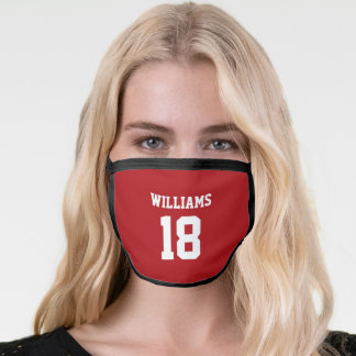 Football Game Day School Spirit Red Number Face Mask