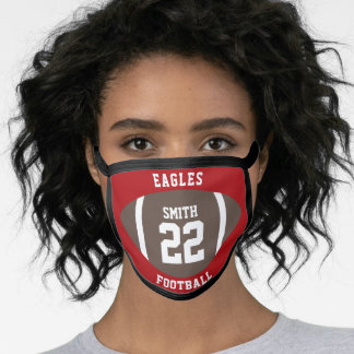 Football School Spirit Red Game Day Jersey Number Face Mask