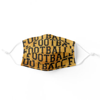 Football Themed Pattern Golden Adult Cloth Face Mask