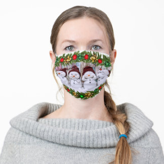 Four smiling toy snowmen adult cloth face mask