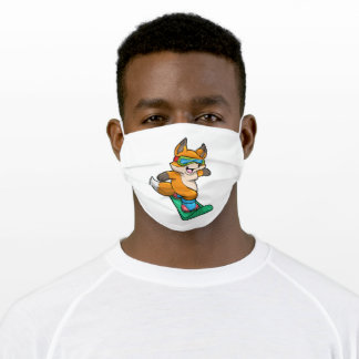 Fox at Snowboarding with Snowboard Adult Cloth Face Mask