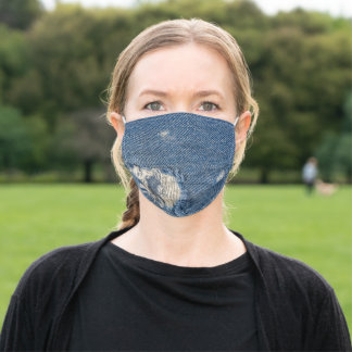 frayed hole in blue jean denim adult cloth face mask