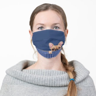 French bulldog on gingham adult cloth face mask