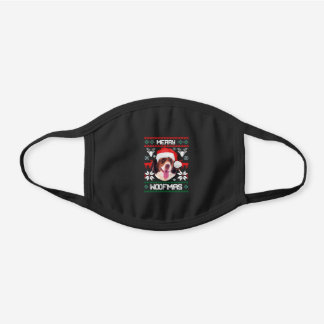 French Spaniel Merry Woofmas Christmas Protective Black Cotton Face Mask