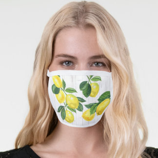 Fresh country lemons watercolor, rustic white wood face mask
