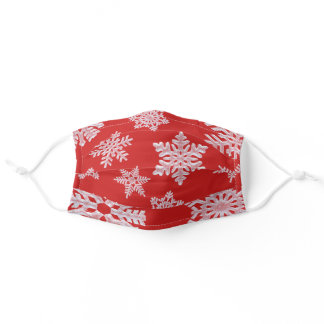 Fresh Icy Frozen Winter Snowflakes Christmas Red Adult Cloth Face Mask