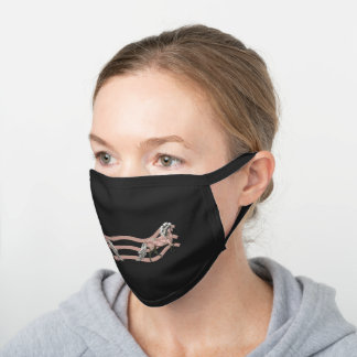 Frey and the Tulips Black Cotton Face Mask