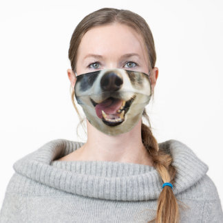 Friendly Smiling Dog with tongue hanging out Adult Cloth Face Mask