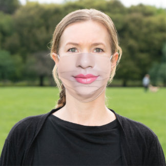 Friendly Woman's Face Mask With Pink Lipstick