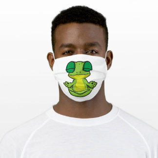 Frog at Yoga in Cross-legged Adult Cloth Face Mask