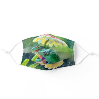 Frog Friends Enjoying The Rain Under A Flower Adult Cloth Face Mask