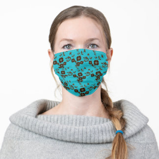 FS Floral Spray Style 1-Aqua-Brown Adult Cloth Face Mask