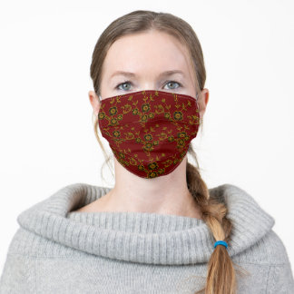 FS Floral Spray Style 1-Red and Gold Adult Cloth Face Mask