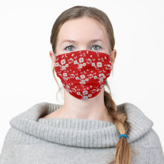 FS Floral Spray Style 1-Red and White Adult Cloth Face Mask