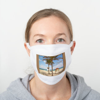 Ft Lauderdale Florida Beach Lifeguard Palm Trees White Cotton Face Mask