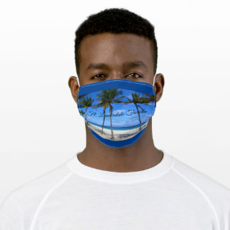 Ft Lauderdale Florida Beach Ocean Palm Trees Sand Adult Cloth Face Mask