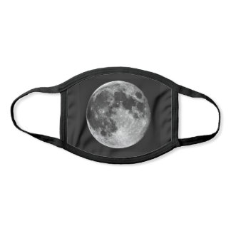 Full Moon photography on Black Cloth Face Mask