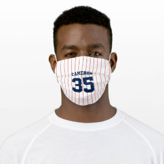 Fully Editable Colors Baseball Jersey Stripes Name Adult Cloth Face Mask